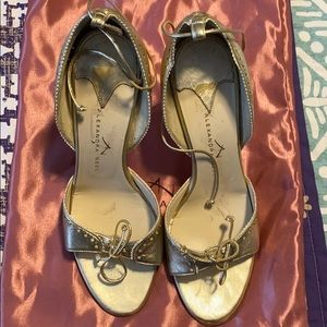 Alexandra Neel Gold leather heels